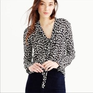 J.Crew georgette silk Black  & White print blouse